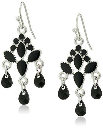 1928 Jewelry Silver-Tone Black Chandelier Drop (1928 Vintage Costume Jewelry)
