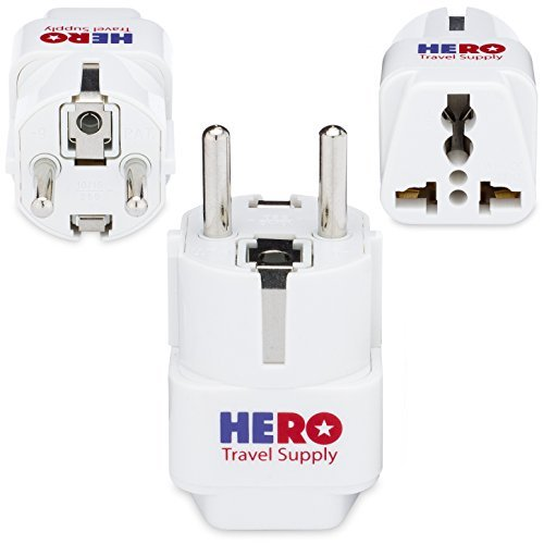 Premium US to Europe Power Adapter for France, Germany & Spain (Type E/F, 3 Pack, Grounded) - Individually Tested in the USA by Hero Travel Supply - Includes Cotton Carry ()