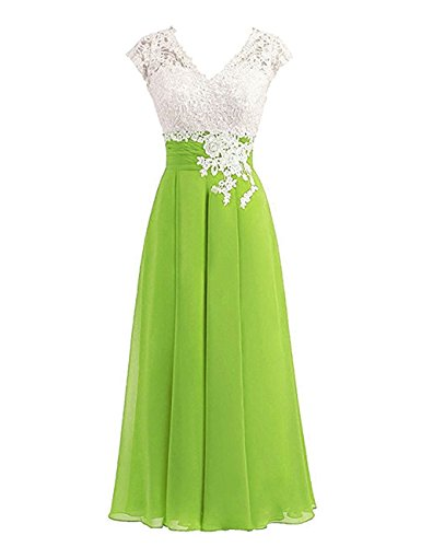 - Women's Ivory Lace Top Chiffon Button V-Neck Bridesmaid Dresses with Cap Sleeves Mother of The Bride Dresses (US16, Lime Green)