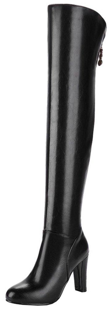 Mofri Women's Sexy Pendant Round Toe Block Chunky High Heel Side Zipper Thigh High Long Riding Boots B0781NG5G5 4 B(M) US Black