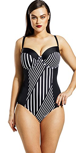 Tropiculture Women's Striped Underwire Swimsuit 16 Multi