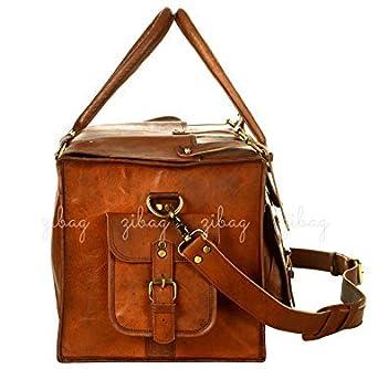 Amazon.com: OM 22 inch Genuine Vintage Leather Duffle Bag ...