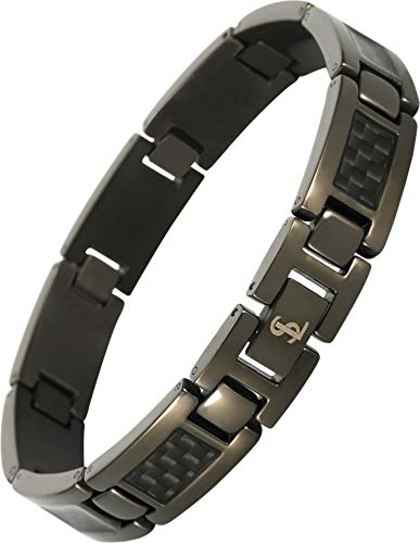 Smarter LifeStyle Elegant Surgical Grade Steel Men's Carbon Fiber Bracelet, Stylish Without Magnets (Gunmetal Bracelet, Black Carbon ()