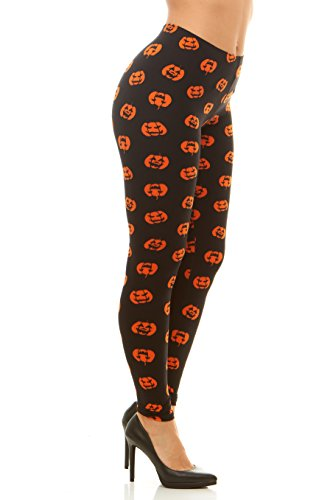 (Just One Peach Feel Halloween Leggings Costume Plus Size (Jack-O'-Lantern,)