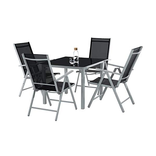 TecTake Alluminio set mobili da giardino 4+1 tavolo sedie pieghevole arredo esterno - disponibile in diversi colori… 2 spesavip