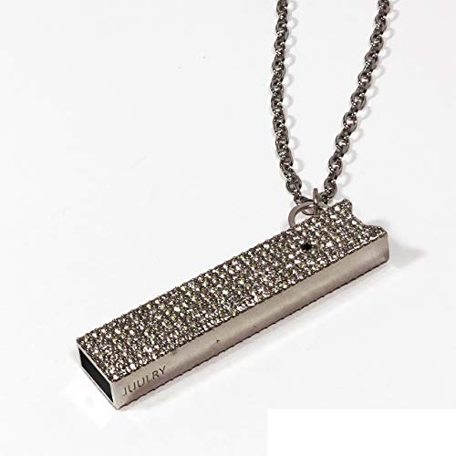 JUUL Pave case with Necklace and Key Chain Attachment (Hematite Black Diamond)