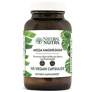 Natural Nutra Mega Magnesium Supplement from Amino Acid Malate, Chelate, Citrate, Malic Acid, 400 mg, 90 Vegetarian Capsules