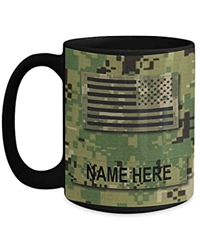 Personalized Navy Coffee Mug - US NAVY (USN) Master Chief Petty Officer (MCPO) E9 – NWU Type III Material-Customize with Name or Text - 15 oz Cup - US Navy - Navy Stein