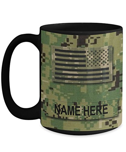 Coast Guard Chief Petty Officer (Personalized Navy Coffee Mug - US NAVY Chief Petty Officer (CPO) E7 – NWU Type III Material-Customize with Name or Text - 15 oz Cup - US Navy Gift)