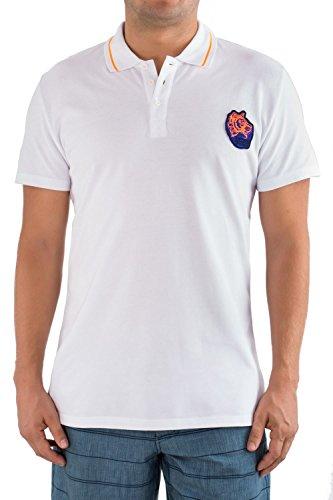 Just Cavalli Men White Spread Collar Polo Shirt Italian Designer Beachwear