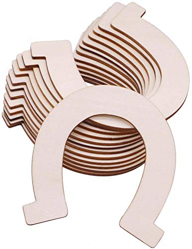 VERNUOS 24 Pcs Unfinished Wood Horseshoe Cutouts for DIY Craft, Wedding, Party and ()