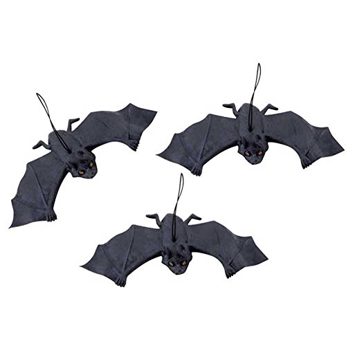 Gooday 6 PCS Halloween Party Decoration Rubber for Bats Hanging adornment Home Decoration,18x7CM/7.09X 2.76 (Cute Halloween Yard Decoration Ideas)