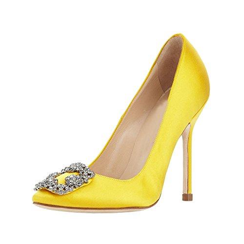 Yellow Gold High Heel Shoe - EKS Women's Kricoa Satin Full Sole High Heel Pumps Yellow 7.5 M US