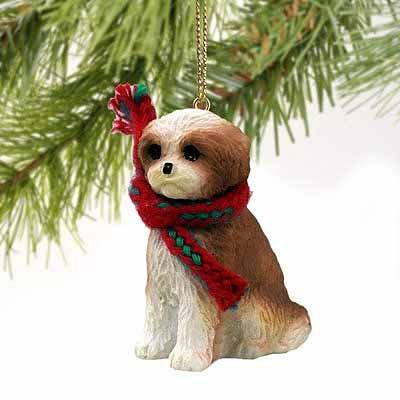 Tzu Ornaments White Shih (Shih Tzu Puppy Cut Miniature Dog Ornament - Brown & White)