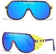 Pit Viper Sunglasses, Pit Viper Grand-Prix One Piece Sunglasses Oversized Mirror UV400 Goggle Oval Flat Top Co