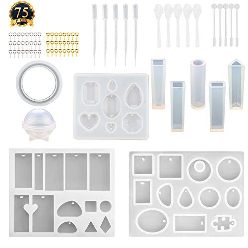 (SUBANG 12 Pack Jewelry Casting Molds Silicone Resin Jewelry Molds with 48 Screw Eye Pins, 5 Plastic Stirrers, 5 Plastic Spoons, 5 Plastic Droppers)
