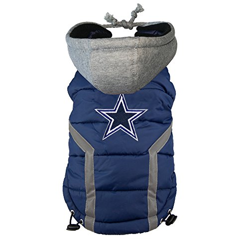 NFL Dallas Cowboys Dog Puffer Vest, (Doggy Man Slicker)