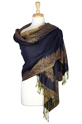 Paskmlna Border Pattern Double Layered Reversible Woven Pashmina