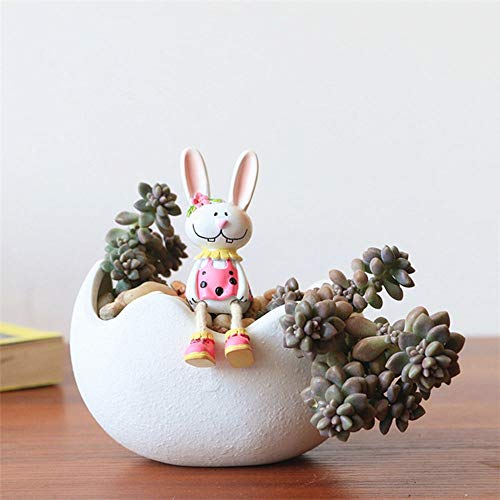 - White Ceramic Planter Flower Pots Indoor Plant Containers Eggshell Shape Plant Pot Flower Vase Modern Home Decor (M)
