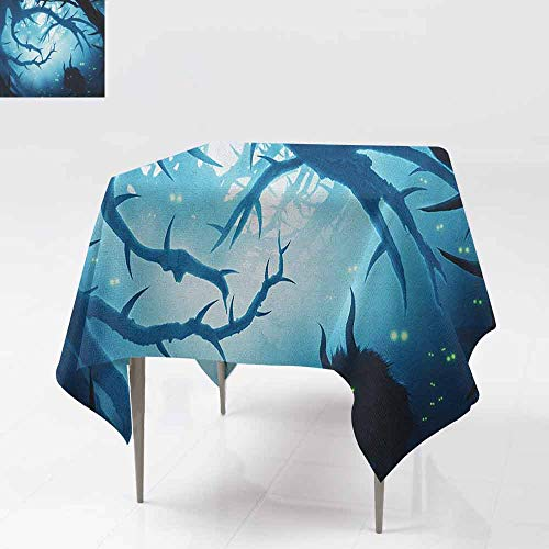 DUCKIL Square Tablecloth Animal with Burning Eyes in The Dark Forest at Night Horror Halloween Illustration Washable Tablecloth W36 xL36 Navy White