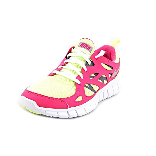 Nike Girls Free Run 2 GS Running Shoes-Volt/Metallic Silver-Vivid Pink-7