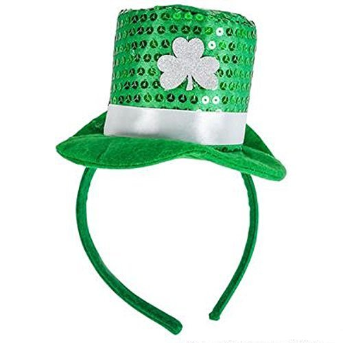 St Patrick's Day Shamrock and Sequin Hat Headband
