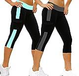 iLoveSIA 2Pack Women's Tight 3/4 Legging Capri US Size S Grey+ Lake Blue