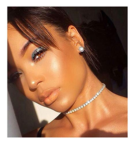 Eoumy Women Clear Crystal Choker Necklace Gold Tone Rhinestone Necklace Adjustable