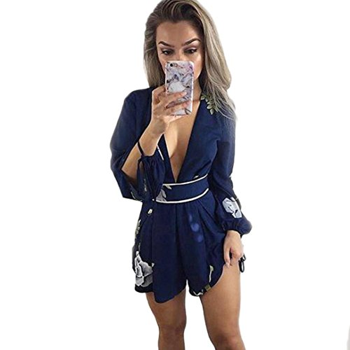 Halo Kettle (❤️Women Jumpsuit,Hot New Fashion 2018 Clearance Backless Neartime Rompers Overalls Sexy Ladies Floral Prints Jumpsuit Clubwear Bodycon Playsuit Romper (Red, M))