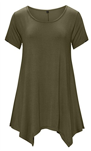 DB MOON Womens Tunic Tops Short Sleeve T Shirts Dress ( S-XXXL ) – Small, Db02 Army Green