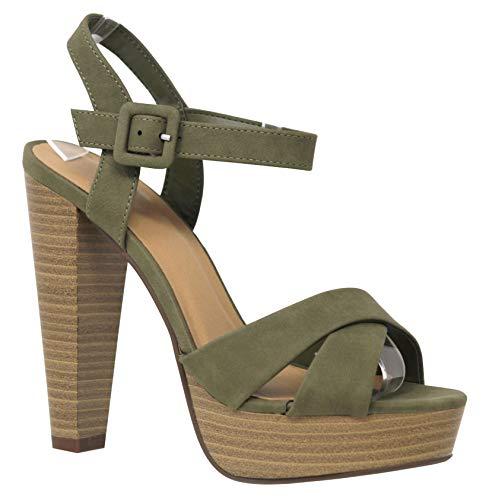 MVE Shoes Women's Open Toe Criss Cross High Platform Sandals, Rancho KHA NB 11 - High Platform Sandal