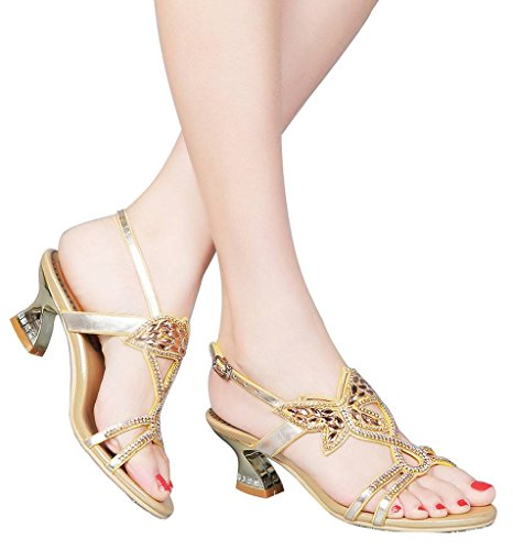 Picture of YooPrettyz Low Heel Evening Sandals Embellished Stud Butterfly Dress Party Wedding Sandal