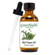 Thyme Red - 2 fl oz (59 ml) Glass Bottle w/ Glass Dropper - 100% Pure Essential Oil - GreenHealth