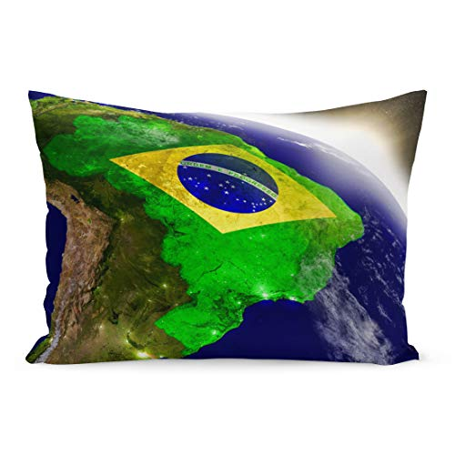 - Emvency Throw Pillow Covers Brazil Embedded Flag on Planet During Sunrise 3D Highly Pillow Case Cushion Cover Lumbar Pillowcase Decoration for Couch Sofa Bedding Car Home Decor 20 x 30 inchs