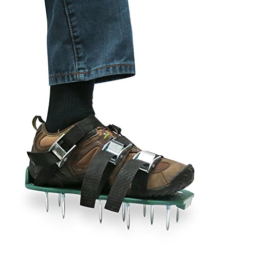 MroTech Lawn Aerator Shoes, Metal Buckles and Secure Steel Spikes with 3 Straps, Ready to Use Premium Grass Aeration Sandals with Heavy Duty Adjustable Straps (Green)