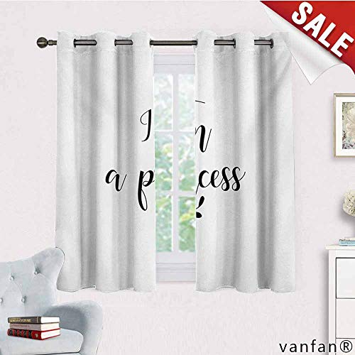 Big datastore Top Solid Polyester Window Curtain,I Am A Princess,Monochrome Hand Writing Style Quote with Olive Branch Good Life Theme,for Living/Bedroom Room/Patio Door,Black and White,W72 Xl45