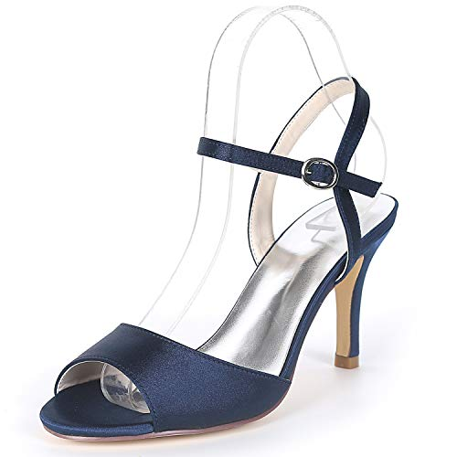 High Wedding YC Evening Buckle 8 Heels Satin Size 5cm Navy Kitten Blue amp; Ivory L FY992 Party Women Shoes 18qFFCw