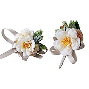 USIX 2pc Pack-Handmade Artificial Camellia Flower Wrist Corsage & Men's Lapel Boutonniere Pin for Wedding Party Prom Homecoming 80