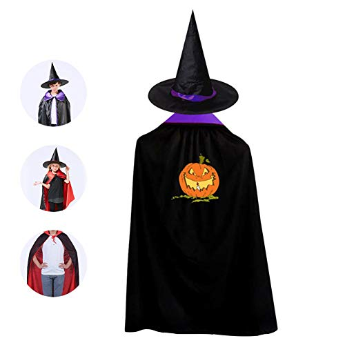 Halloween Jack O'Lanterns Cloak Wizard Witch Cape With Hat Cap Reversible Shawl Robe For Children Halloween Party Cosplay Costume]()