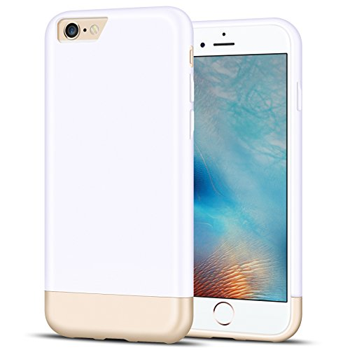 iPhone 6S Case,K-Moze [Vibrance Series] iPhone 6 / 6S Case Protective SOFT-Interior Scratch Protection Slider Style Hard Case for iPhone 6 / 6S - White/Champagne Gold