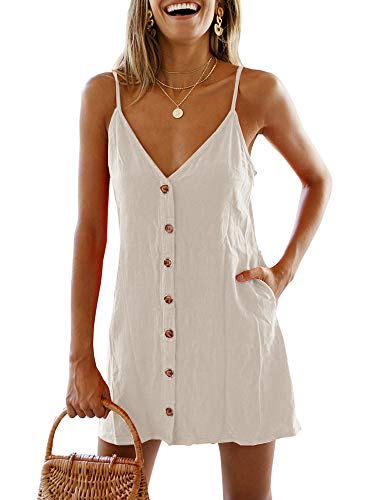 Chuanqi Womens V Neck Button Down Spaghetti Strap Backless Summer Beach Short Mini Dress(X-Large, ZZZZZ-Beige)