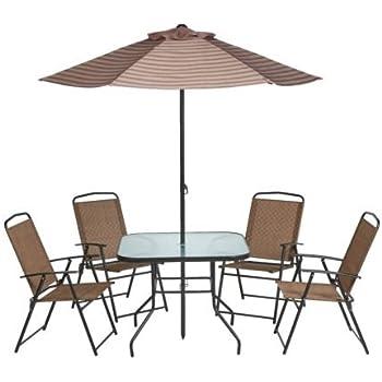 Lovely Mosaic Outdoor 6 Piece Folding Patio Set With Umbrella, Seats 4