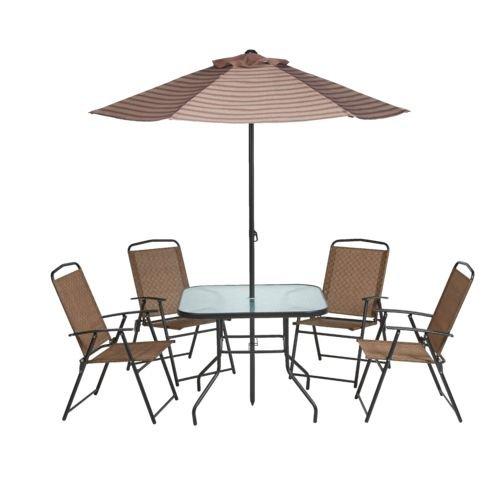 Mosaic Outdoor 6-Piece Folding Patio Set with Umbrella, Seats 4