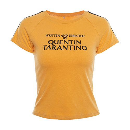 yangelo Women's Fashion Written and Directed by Quentin Tarantino Short Sleeve T Shirts (M, Orange)
