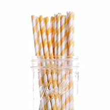 Dress My Cupcake 25-Pack Vintage Paper Cakepop Straws, 6-Inch, Yellow Striped