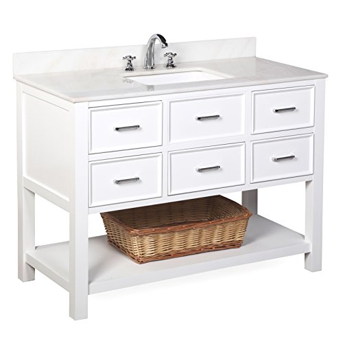 Kitchen Bath Collection KBCD9WTWT New Hampshire Bathroom Vanity with Marble Countertop, Cabinet with Soft Close Function and Undermount Ceramic Sink, White/White, 48'