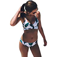 Women's Fresh Leaves Printing Cross Padding Bikini Set