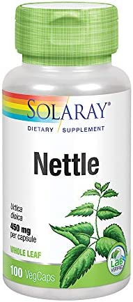 Solaray Nettle Leaf 450mg Healthy Kidney, Urinary Prostate Support Traditional Use for Healthy Allergy Response Respiratory Wellness 100 CT