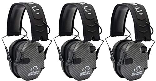 Walkers GWPRSEMCARB Razor Slim Shooter Folding Electronic Earmuff 23 dB Gray - 3 Pack