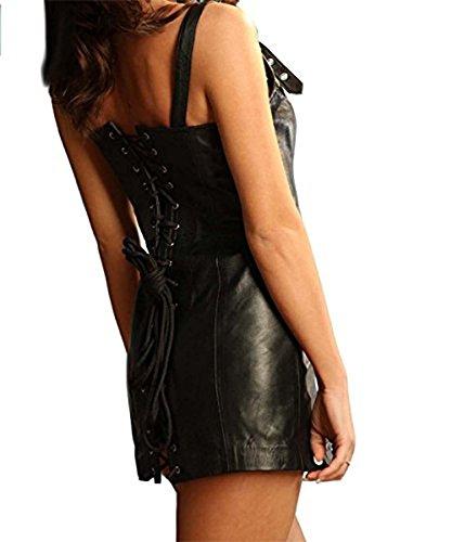 Leatherotics Damen Kleid Schwarz Leder mM6mTK2f55